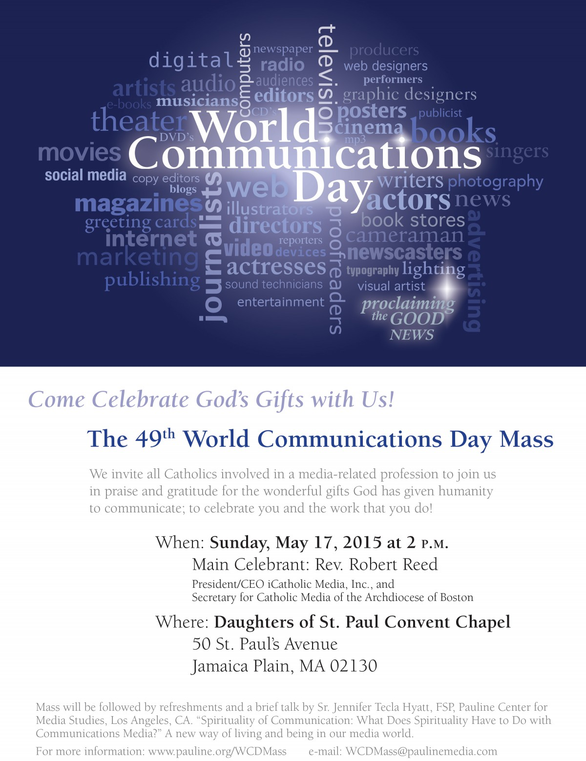 49th World Communications Day Mass–Come Celebrate with Us ...