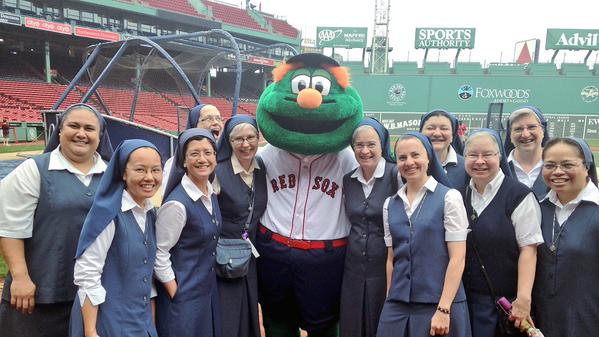 The Daughters of Saint Paul with Wally at their soundcheck before singing at Fenway!